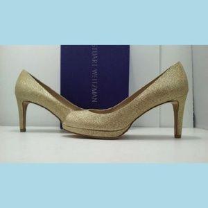 Stuart Weitzman Gold Noir Platform Peep Toe Heels